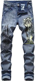 Mannen stretch persoonlijkheid print patroon Wolf hoofd slim-fit jeans, mode gewassen halfhoge jeans, met zak