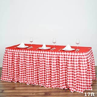 BalsaCircle 17 feet x 29-Inch Red on White Checkered Gingham Polyester Table Skirt Linens Wedding Party Events Decorations Dining
