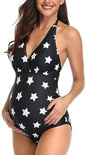Maternity Printed Swimsuit One Piece V-Neck Pregnancy Swimwear Halter Maternity Bikini