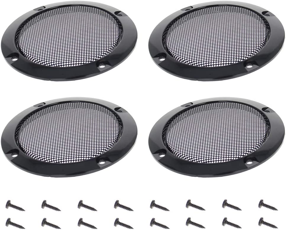 Fielect 6.5inches Speaker Grill Mesh Decorative Circle Subwoofer Guard Protector Cover Audio Accessories Black Metal Trim 2Pcs