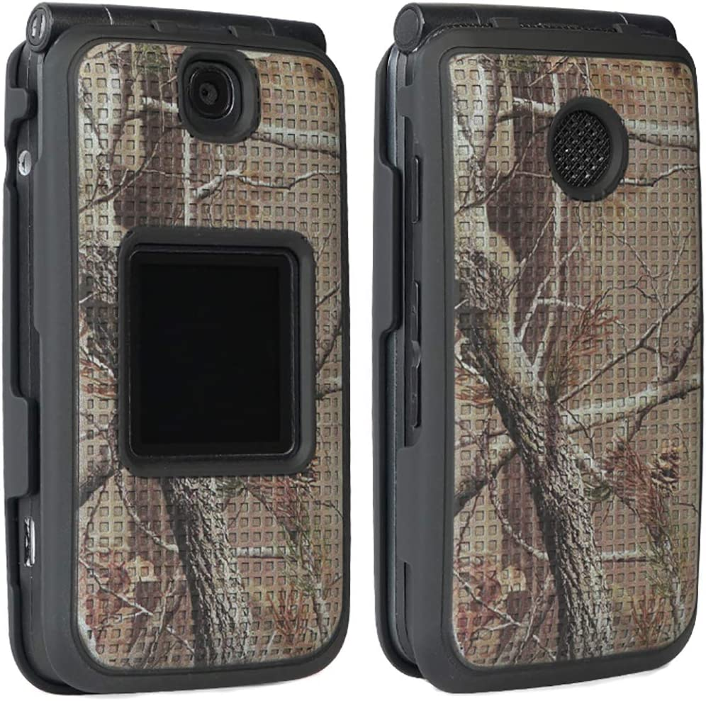 Case with Clip for Alcatel Go Flip V, Outdoor Camo Tree Leaf Real Woods Cover with Belt Hip Holster for Alcatel Go Flip, MyFlip 4G, QuickFlip, AT&T Cingular Flip 2, (A405DL, 4051s, 4044, A405)