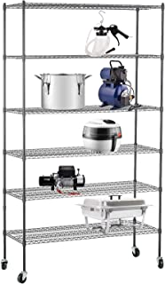 SUNCOO 6 Tier Wire Shelves Unit with Stiffeners Commercial Adjustable Metal Wire Shelving Units Systems Storage Racks with Wheels Kitchen Garage Shelving 46