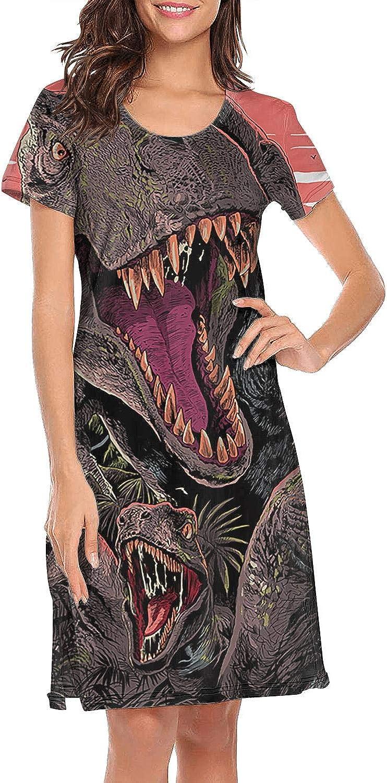LQIAO Dinosaur World 3D Printed Women's Long Sleepwear Design Sleeping Gown Nightshirt Trendy Slip Dress