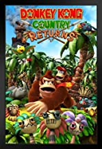 Pyramid America Donkey Kong Country Returns Video Game Black Wood Framed Art Poster 14x20