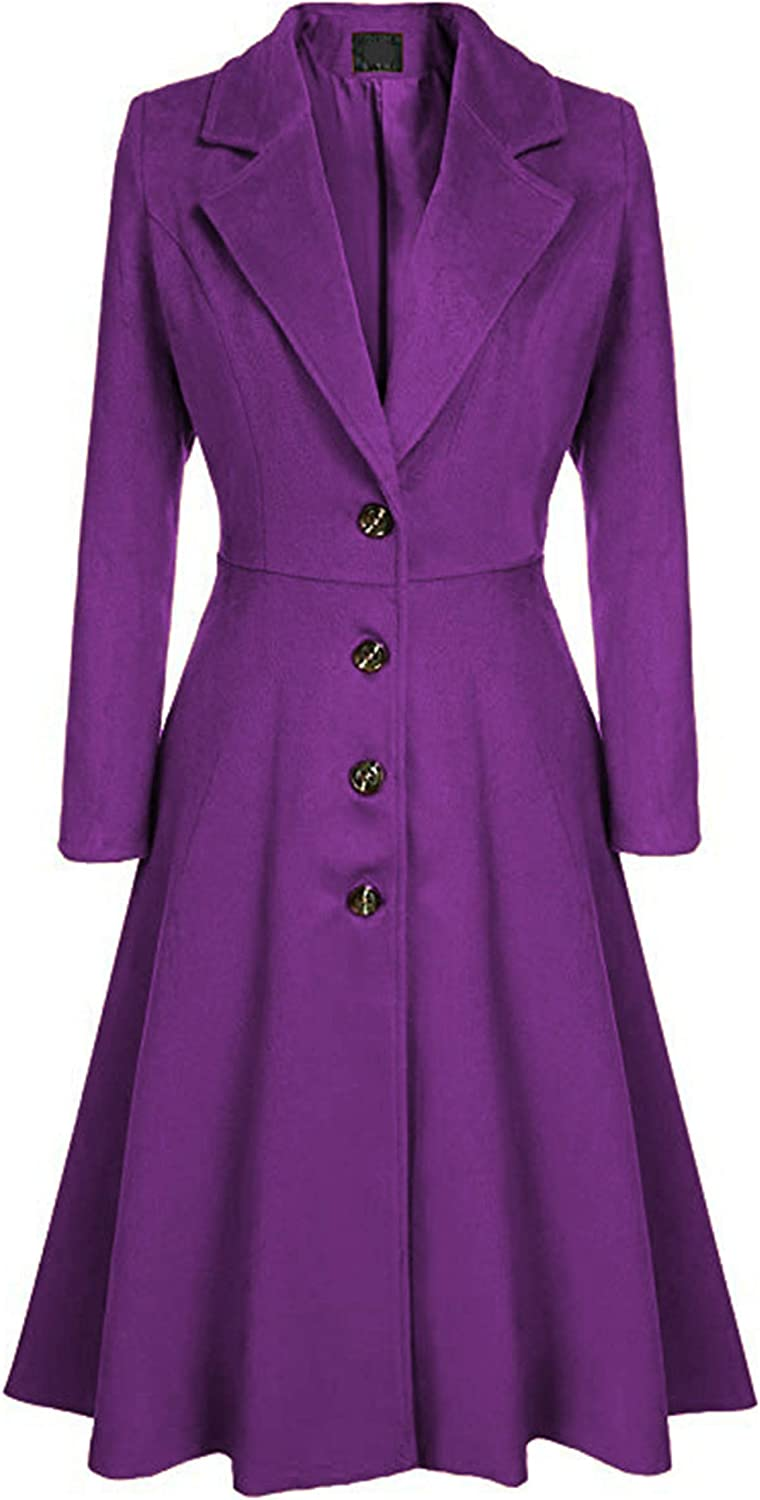 Free shipping New Women Single-Breasted Coat Vintage Lapel Long Max 61% OFF Lightweight Notch