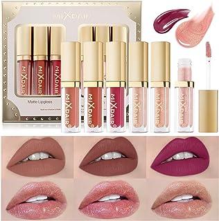 OLesley 6 piezas Set de pintalabios Kit de brillos de labios líquidos Terciopelo Mate Lip Glaze, lápiz labial duradero Gla...