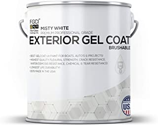MISTY WHITE Boat Paint, Brushable EXTERIOR GEL COAT KIT, 1 GALLON W/ 2 OZ MEKP, Fiberglass Coatings, Inc., PROFESSIONAL MARINE GELCOAT SPECIALISTS, Boat Exterior Hulls, Boat Interior Decking, DIY Projects
