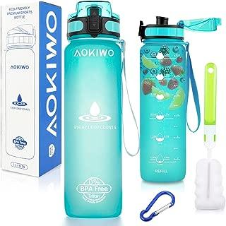 MAO MAO JEWELRY Water Bottle with Time Marker - 34oz 1 Liter Large Sports Water Bottle - BPA FreeFlip Top Leak Proof Lid One Click Open Tritan Gym Water Bottle for Fitness