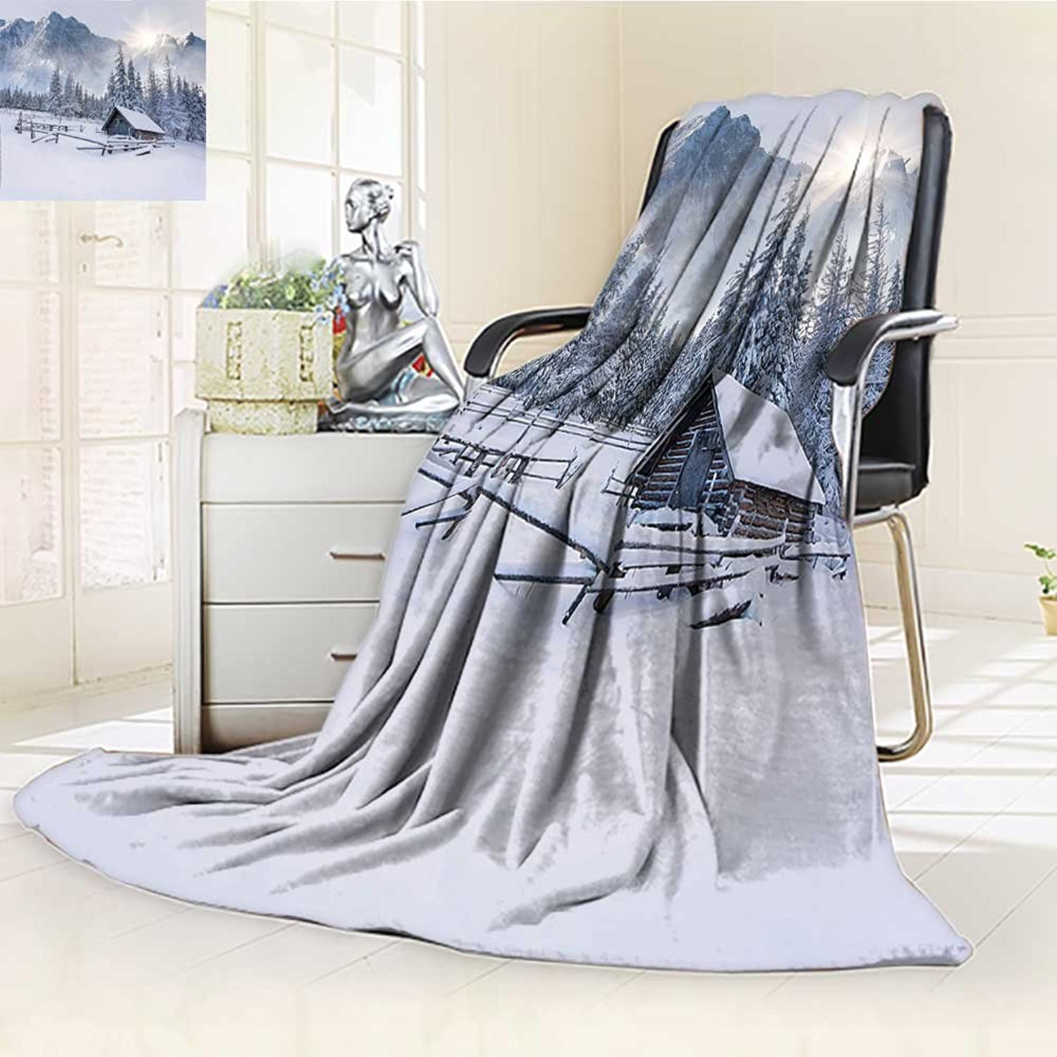 YOYI-HOME Throw Duplex Printed Blanket by The Mountain in The Winter Season Cold Times in Rural Nature Scene Photo White Velvet Plush Throw Blanket  W59 x H39.5