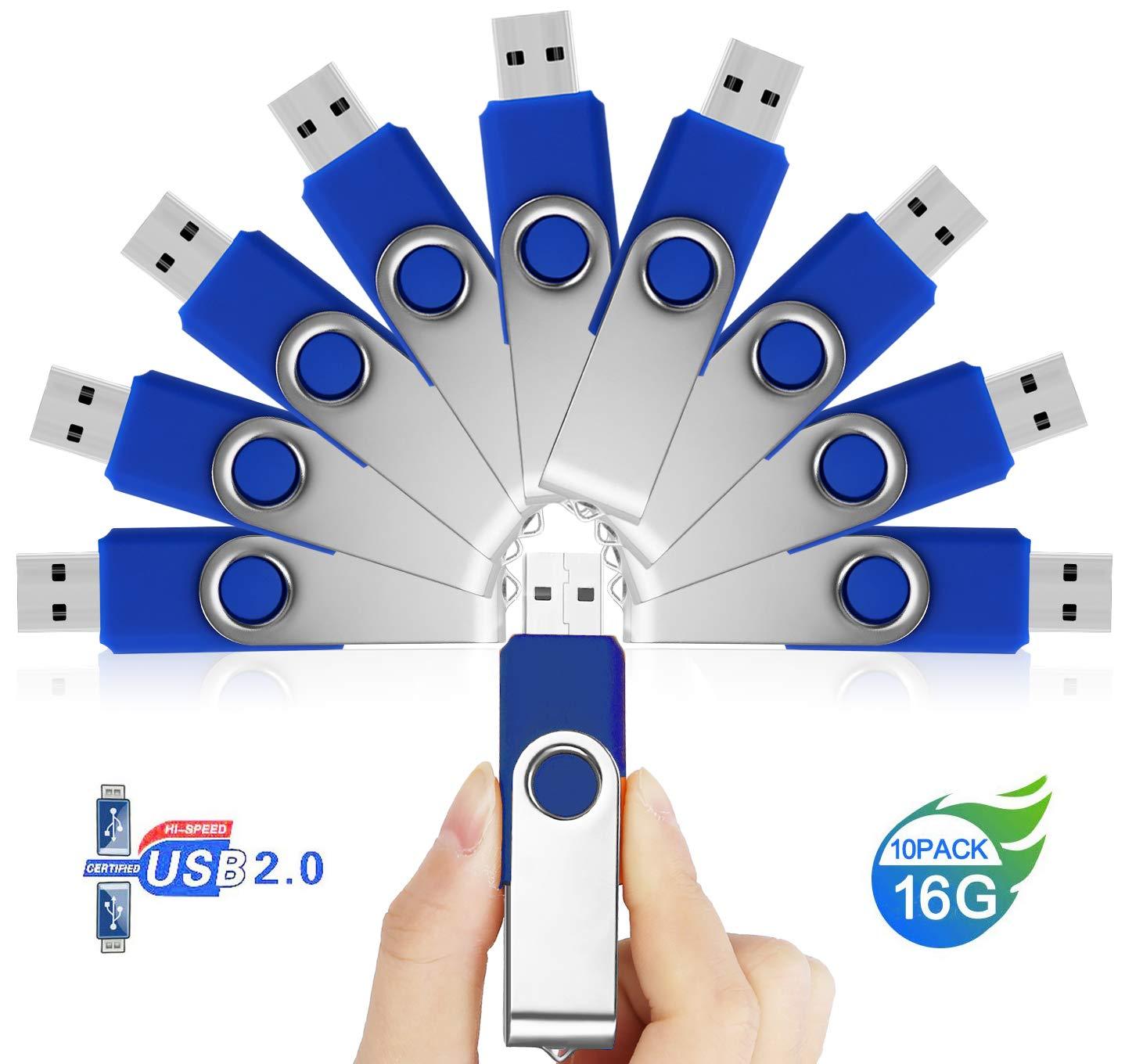 10 Piezas Memorias USB Pendrive 16GB – JUYUKEJI Pen Drive Flash Drive Almacenamiento Externo de Datos Digitales con Clave de Acceso para PC, Smart TV, Tablet, Ordenador, Mac, Coche (Azul): Amazon.es: Electrónica
