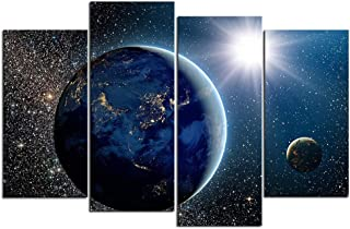 DVQ ART- Modern Galaxy Wall Art 4 Piece Framed Canvas Painting Large Abstract Beautiful View of Earth Sun Moon Canvas Print Picture for Living Room Decor (30cmx60cmx2pcs,30cmx80cmx2pcs)