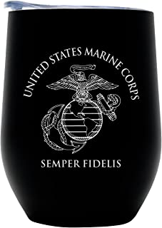 USMC Steel Stemless Wine Glass Tumbler, 12 oz Double Wall Vacuum Insulated –Matte Black with Marine Corps logo and Lid