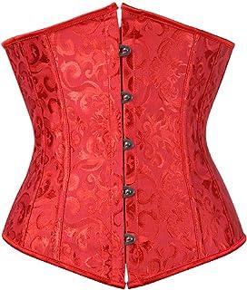 مشد كورسيه بتصميم فينتاج وستيمبنك اسفل الصدر بمقاس كبير، لنحت الخصر والصدر وشد البطن للنساء أحمر جاكارد Large