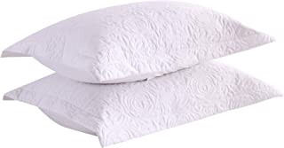 MarCielo 2-Piece Embroidered Pillow Shams, Decorative Microfiber Pillow Shams Set Standard Size White