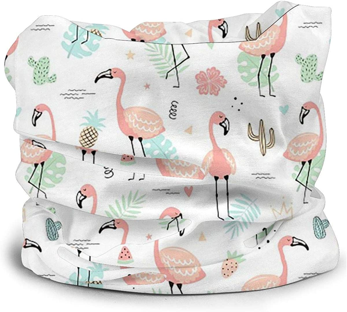 KiuLoam Tropical Pink Flamingos and Leaves Seamless Face Mask Bandanas Neck Gaiter for Men and Women, Multifunction Headband Scarf for Dust, Outdoors, Sports