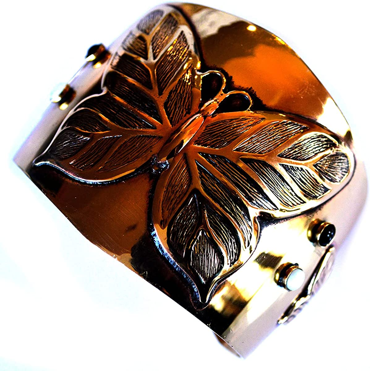 Elaine Coyne Mirror Solid Brass Butterflies Wide Tapered Cuff Bracelet - Mother of Pearl, Black Onyx