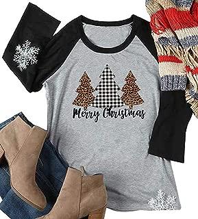 Merry Christmas Leopard Tree Print T-Shirt Women Baseball Tee Shirts Tops Raglan 3/4 Sleeve Graphic Tee
