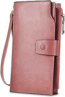 [ヤラックス]YALUXE レディース 床革 RFID ブロッキング 大容量 贅沢 クラッチ ウォレット カード ホルダー オーガナイザー 財布 ダブル ピンク