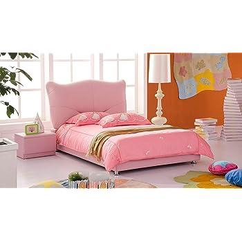 Zuri Pink Leather Kitty Kids Bed