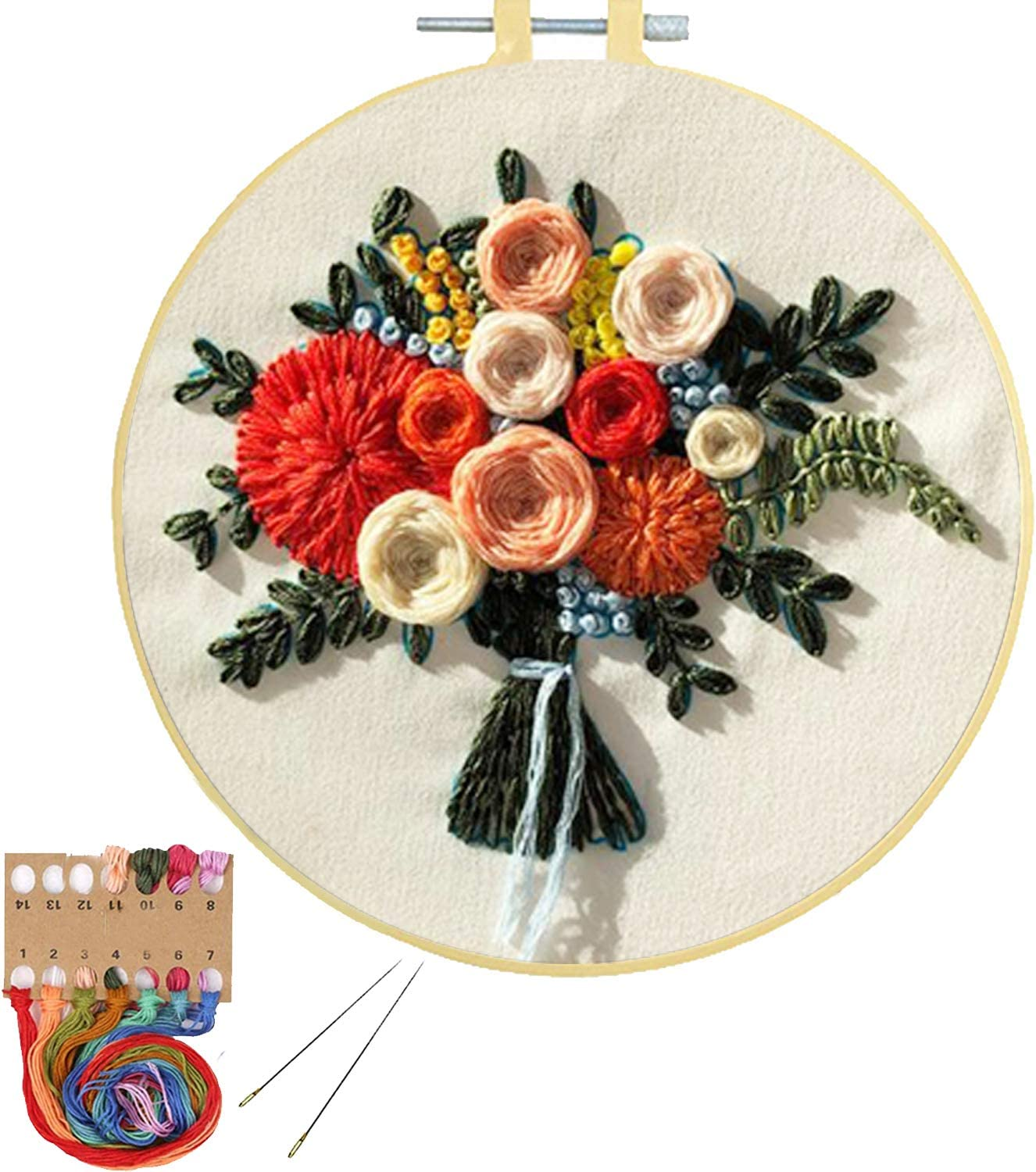2 Pack Embroidery Kits with Pattern for Beginners Adults Pinkol Cross Stitch Kits Stamped Needlepoint with Embroidery Hoops Cloth Fabric Thread