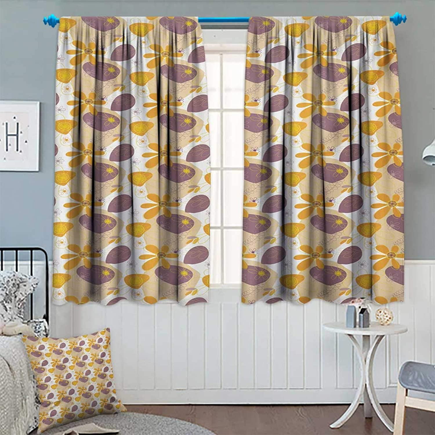 Chaneyhouse Doodle Waterproof Window Curtain Sketch Floral Illustration with Warm colors Flowering Branches of Nature Blackout Draperies for Bedroom 55  W x 45  L orange Beige Purple