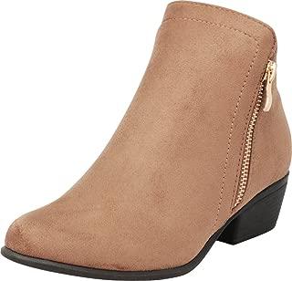 Cambridge Select Women's Western Side Zip Stacked Chunky Block Low Heel Classic Ankle Bootie
