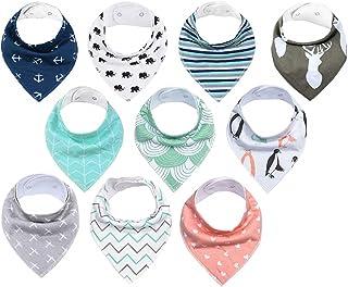 SupinefoxUS Water Resistant Terry Drooler Bib Cotton Solid Knit Bibs, 12 Count