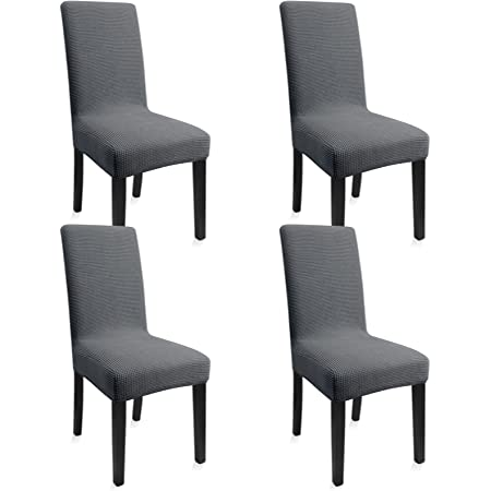 Fab totes Dining Table Chair Covers Set of 4 Washable Dining Chair Covers Stretch Slipcover for Parson Chairs Decorative Chair Cover for Kitchen Dark Grey