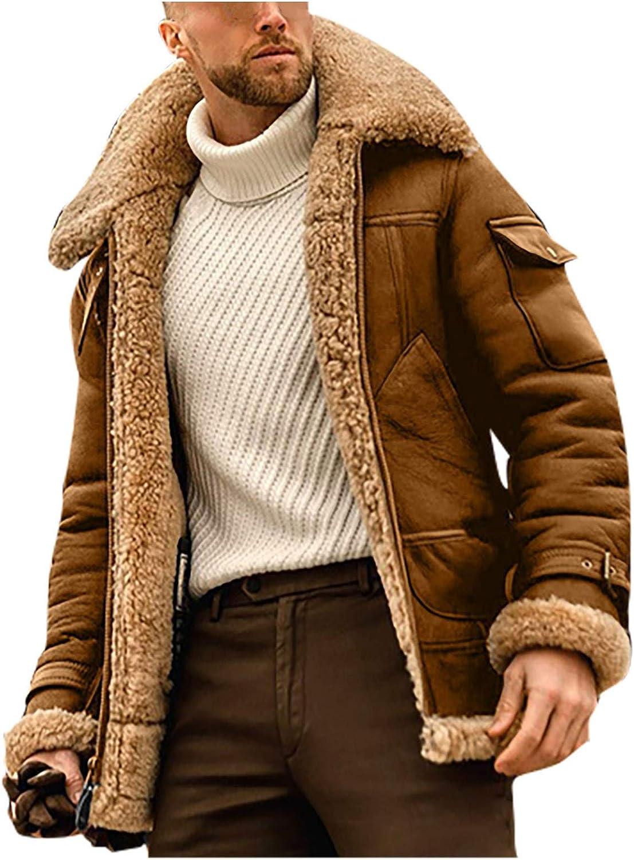 Maryia Men's Denim Sherpa Lined Fashion Long Sleeve Lapel Zip Sweatshirt Faux Shaggy Oversized Cowboy Coat Jacket
