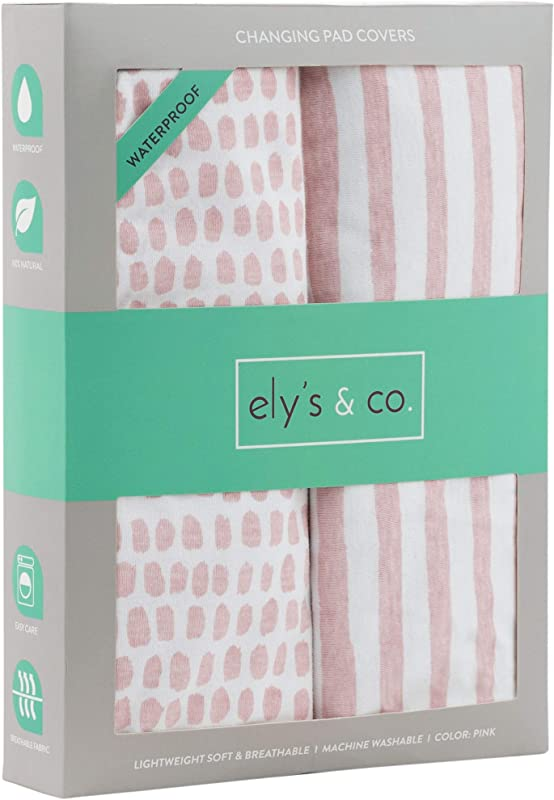 Waterproof Changing Pad Cover Set Cradle Sheet Set By Ely S Co No Need For Changing Pad Liner Mauve Pink Splash Stripe 2 Pack For Baby Girl