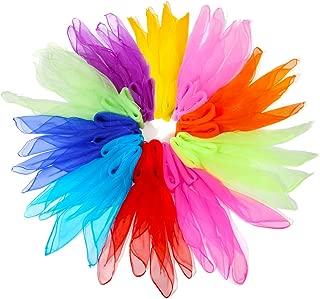 NASUM Dance Scarves, 20pcs Square Juggling Silk Dance Scarves Movement Scarves Magic Tricks Performance Props Accessories ,Random Color Delivery