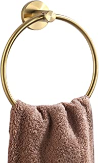 KES Towel Ring Brushed Brass Hand Towel Holder SUS 304 Stainless Steel Bathroom Round Ring Towel Hanger Wall Mount, A2180-BZ