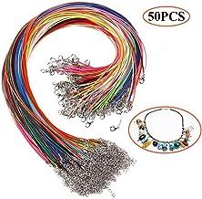 Collar de algodón encerado Dproptel de 45 cm, 1,5 mm, cadena de piel para bisutería, con cierre de mosquetón, para hacer collares y pulseras, 50 unidades 46 cm Colorful