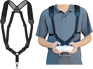 USA Gear RC Drone Neck Harness Strap with Adjustable Lanyard Design , Black Neoprene , Accessory Pockets , Metal Clip , Compatible with FPV Drone , DJI , Parrot and More Helicopter Remote Controllers