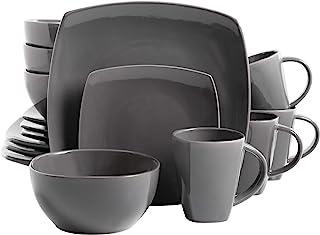 Gibson Soho Lounge 16-Piece Square Reactive Glaze Dinnerware Set, Grey – 97558.16RM