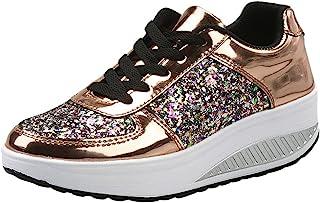 comprar comparacion DEELIN Calzado Deportivo para Mujer Moda Mujer Damas CuñAs Zapatillas De Deporte Lentejuelas Zapatos Shake Moda Chicas Zap...