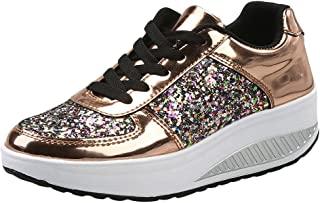 Cinsanong Boots Clearnce Sale! Women's Sport Shoes LuluZanm Fashion Ladies Wedges Sneakers Sequins Shake Fashion Girls Shoes