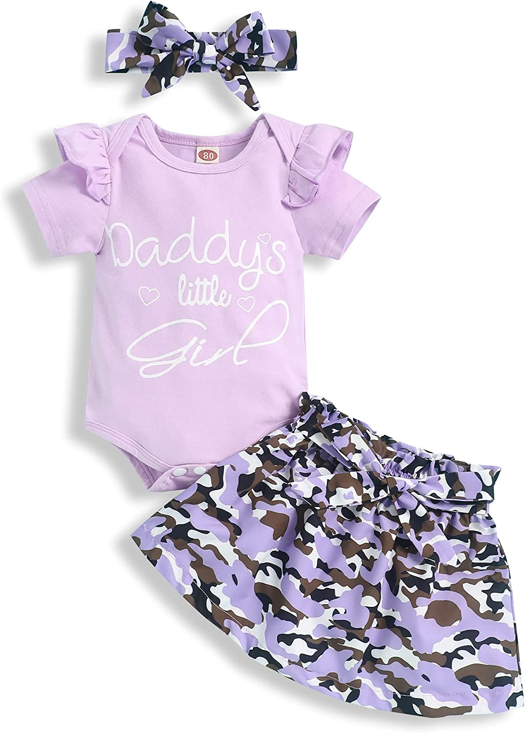 bilison Baby Girl Clothes Little Miss Sassy Pants Ruffle Romper+Camouflage Skirt with Headband Baby Girl Summer Outfits