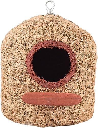 Bristo Coco Fiber Bird Nest Pentagon House for Bird Breeding (Medium, Brown)