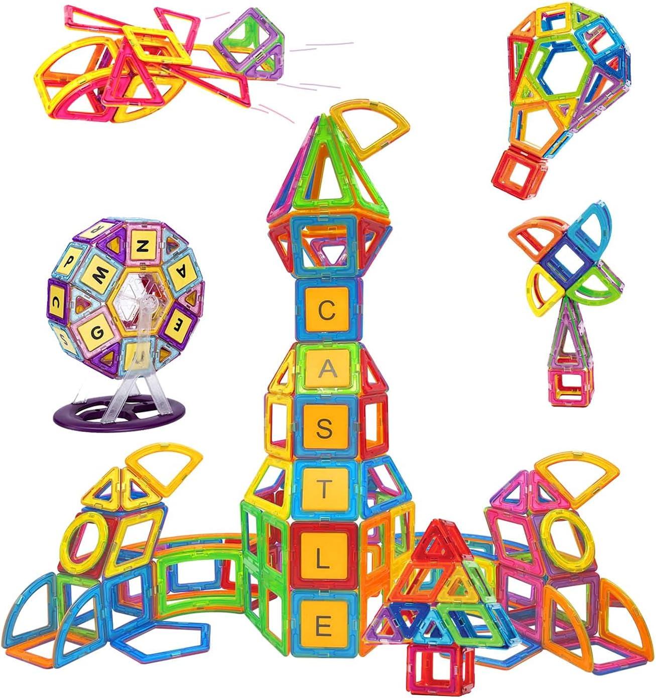 Condis 160 Piezas Bloques de Construcción Magnéticos para Niños Kit de inicio, Juegos de Viaje Construcciones Magneticas Imanes Regalos Cumpleaños Juguetes Educativos para Niños mayores de 3 a