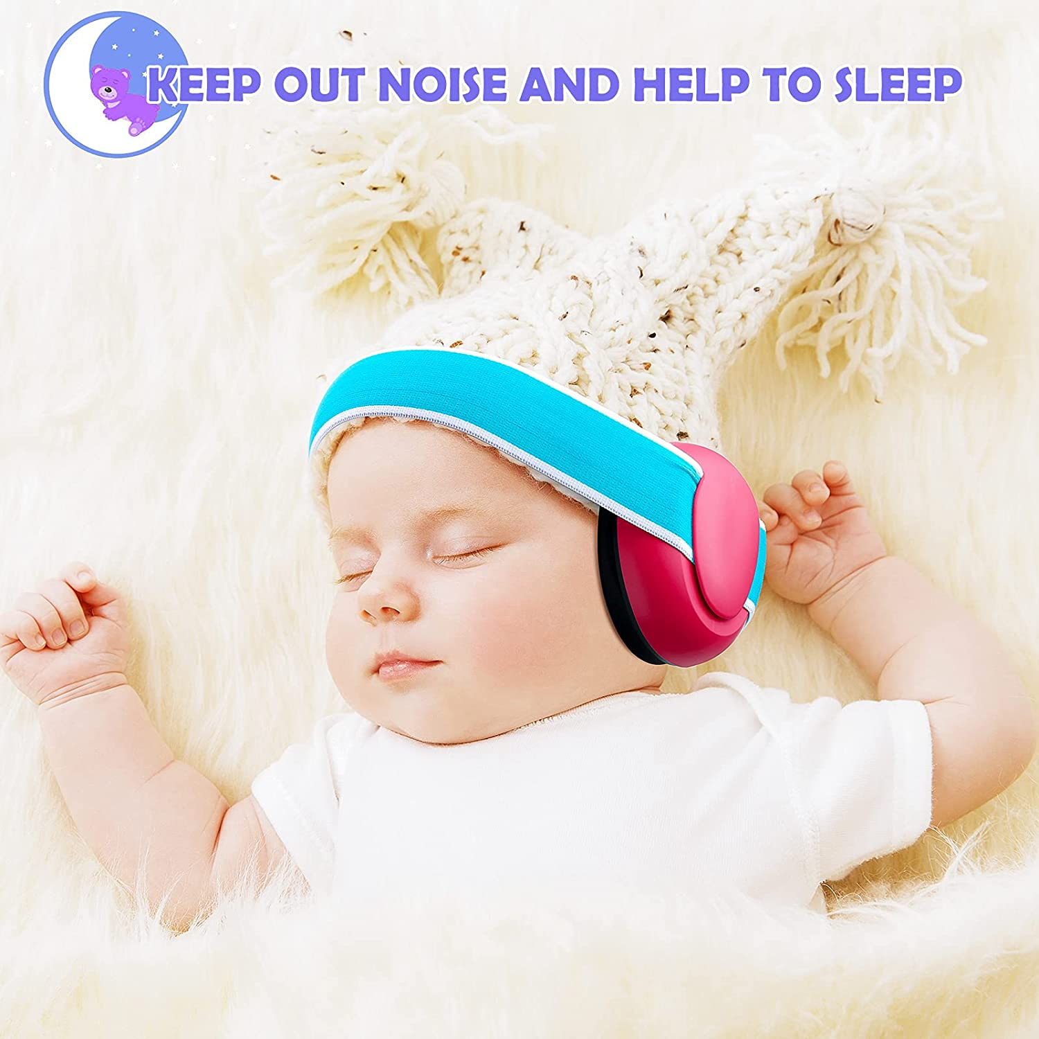 2 Pieces 3 - 24 Months Baby Ear Protection Headphones Kids Comfy Adjustable Noise Cancelling Infant Noise Reduction Earmuff Newborn Ear Muffs for Prevent Noise Improve Sleep with a Cloth Bag, 2 Colors