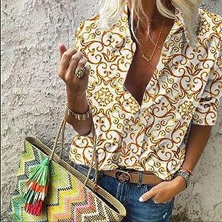 قمصان وتيشيرتات نسائية مطبوعة عتيقة اللون بأكمام طويلة من Makfacp (اللون: ذهبي، المقاس: S)