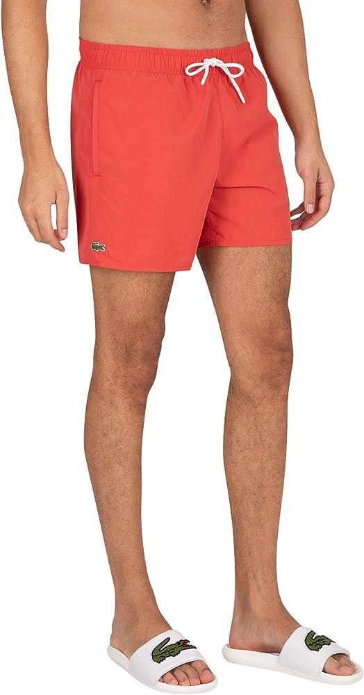 Lacoste, costume da bagno a pantaloncino per uomo, 100% poliestere, ROSSO 2 MH62702