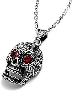 Feilok - Catenina con ciondolo a forma di teschio in acciaio inox, da uomo, stile gotico, con occhi di cristallo rosso, co...