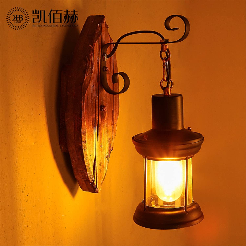 StiefelU LED Wandleuchte nach oben und unten Wandleuchten Loft Holz Glas Kuppel des Lichts Sepia Restaurant und Coffee Lounge gang Schlafzimmer Bett Wand Lampen Retro, 19  33 cm