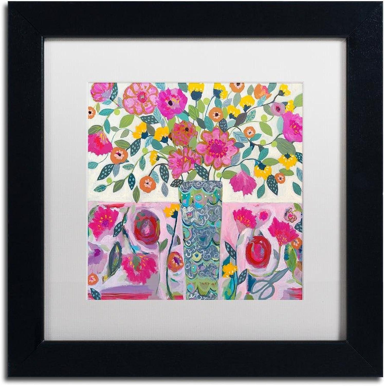 Trademark Fine Art Amazing Vase by Carrie Schmitt Wall Art, White Matte, Black Frame 11x11