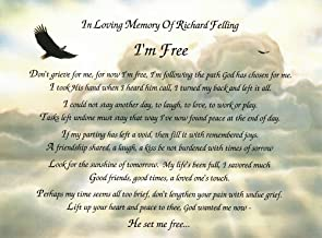 Names To Remember Customized I'm Free Poem Personalized Bereavement Gift On Eagle Background
