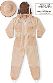 NATURAL APIARY - Zephyros Protect - Ventilated Beekeeping Suit – Total Protection for Professionals and Beginners - Small - Sand