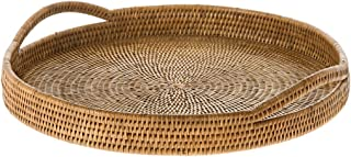 KOUBOO La Jolla Rattan Round Serving Tray, Honey Brown