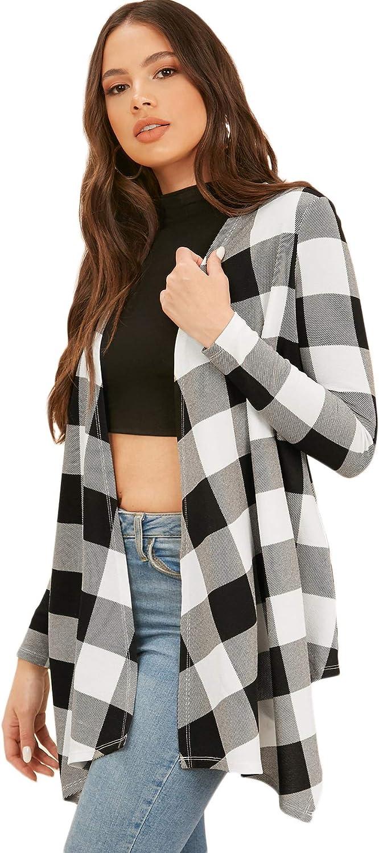 Verdusa Women's Asymmetrical Open Front Buffalo Plaid Coat Outerwear Cardigan